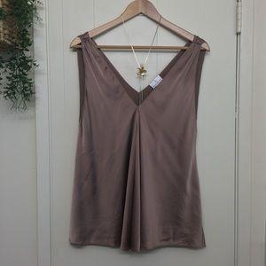 Miguelina bronze copper stretch silk tank top
